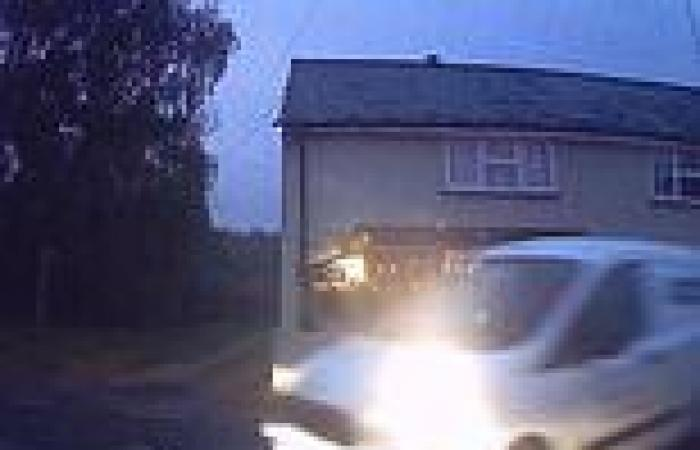 Heart-stopping moment driver narrowly misses car as he skids across junction