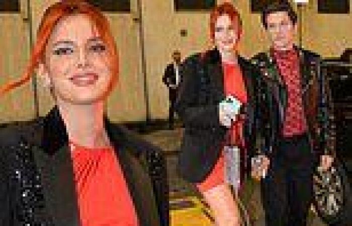 Bella Thorne rocks a scarlet dress with fiancé Benjamin Mascolo at Milan ...