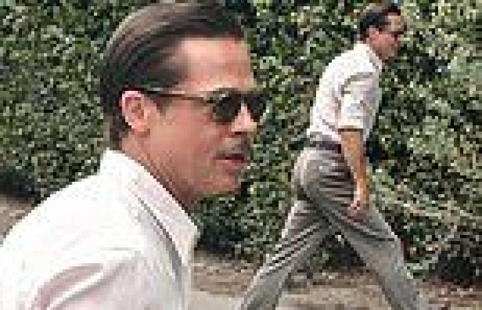 Brad Pitt rocks a retro slicked-back look on the Pasadena set of his new movie ...