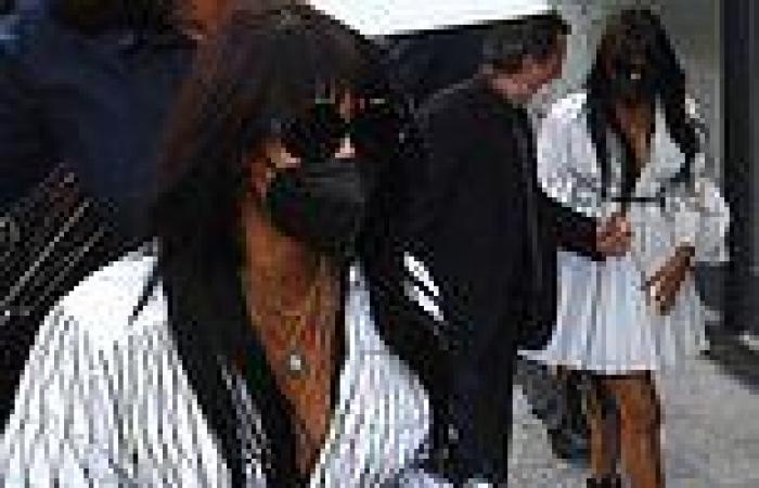 Naomi Campbell arrives at the Versace show at Milan Fashion Week