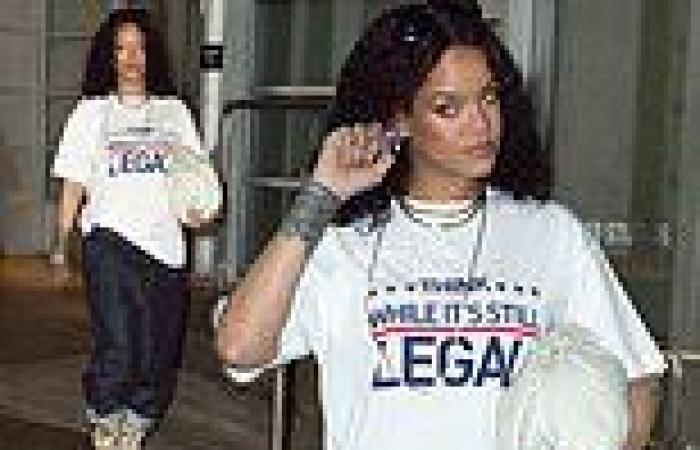 Rihanna makes a political statement in a slogan T-shirt as she heads to a ...