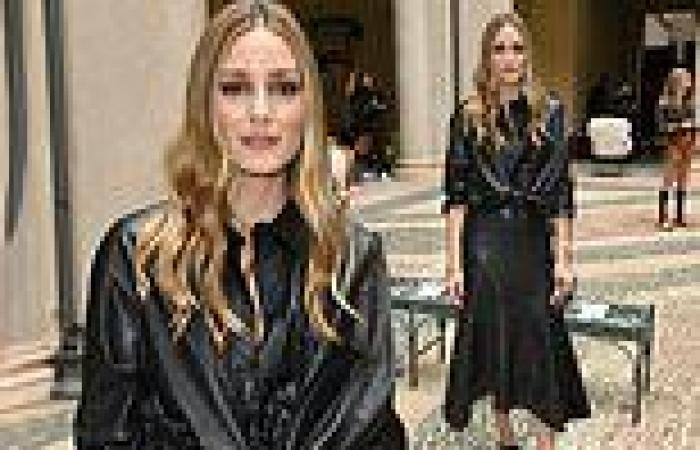Olivia Palermo oozes confidence in a black leather knot-front shirt during ...