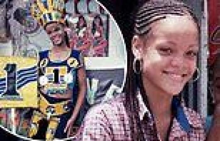 Rihanna pictured as a 14-year-old girl modeling costumes in her home country of ...