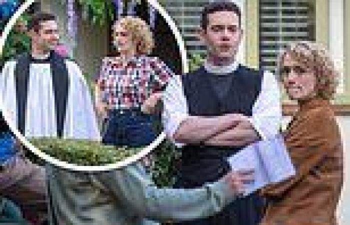 Grantchester's Tom Brittney looks delighted to be filming on set withguest ...
