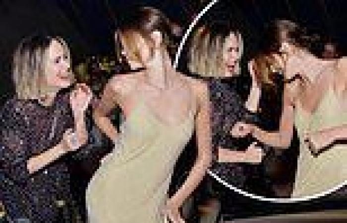 Kaia Gerber larks around with her American Horror Story co-star Sarah Paulson