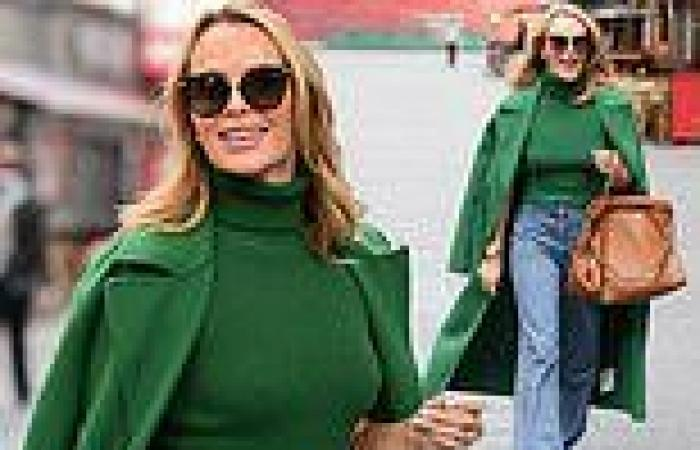 Amanda Holden looks typically chic as she doubles-up on green en route to Heart ...