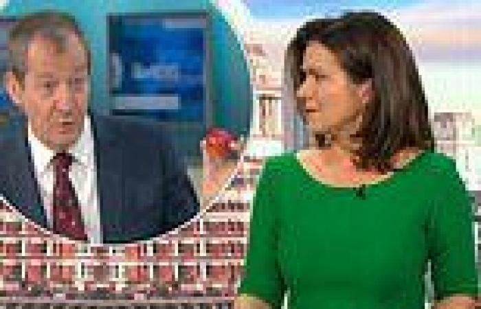 Susanna Reid looks unamused as Alastair Campbell tells her to 'feel his wrinkly ...