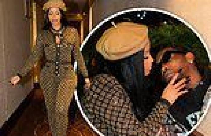 Cardi B glitters in skintight gold outfit with on-brand beret on Paris date ...