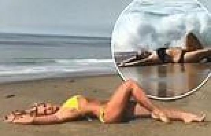 Celeste Barber pays tribute to Britney Spears as she writhes around on a beach ...