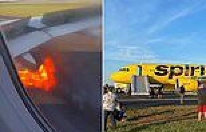 Spirit Airlines jet engine erupts in flames then deploys evacuation slides at ...