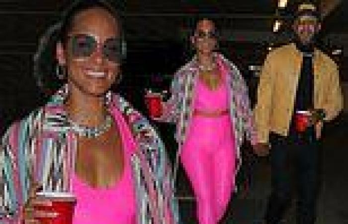 Alicia Keys in clinging hot pink sports bra and leggings as she heads to LA ...