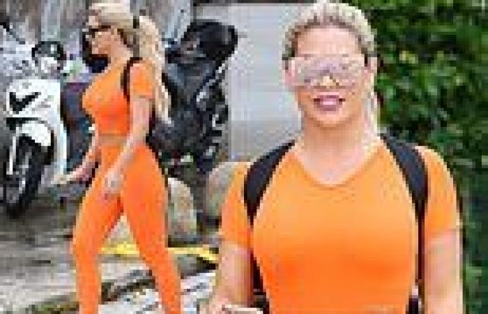 Bianca Gascoigne flaunts her tiny waist in a skin-tight crop top