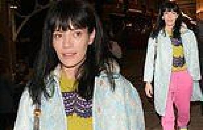 Lily Allen dons a blue floral coat and bubblegum pink joggersafter 2:22 A ...