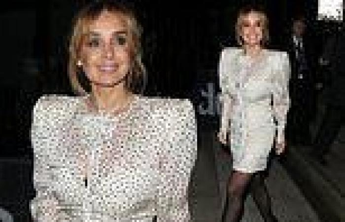 Louise Redknapp pays homage to the 80s in a polka dot mini dress with puffball ...