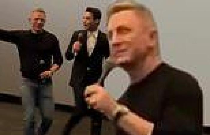 No Time To Die stars Daniel Craig and Rami Malek surprise theater goers at ...