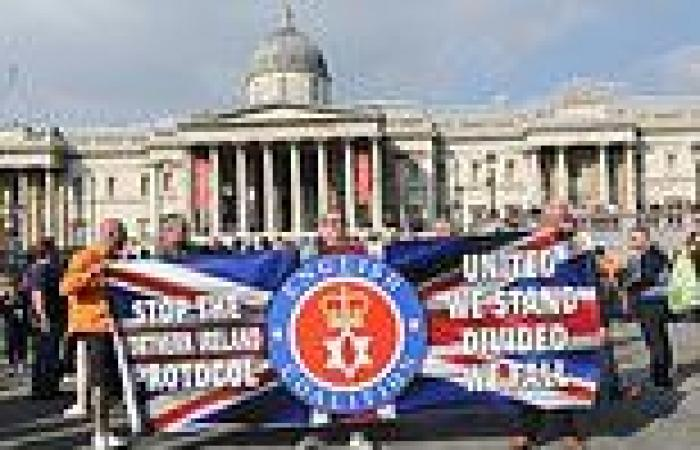 Loyalists march on Downing Street demonstrating against the Northern Ireland ...