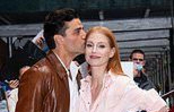 Jessica Chastain dons pink jumpsuit and $775 Louboutins in NYC with ...