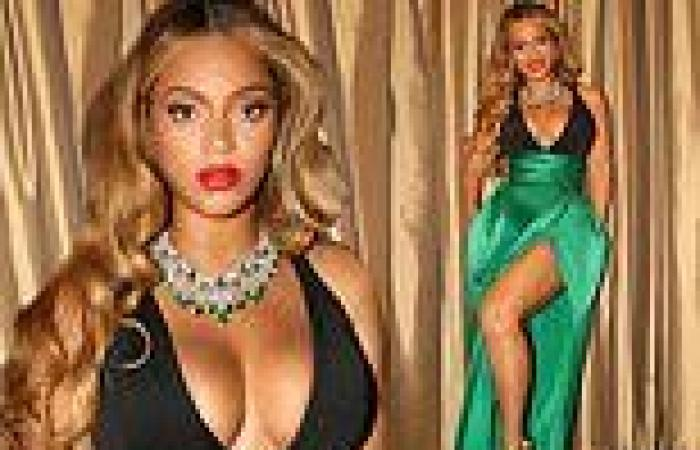 Beyonce puts on a VERY busty display in low-cut halter gown in stunning snaps ...