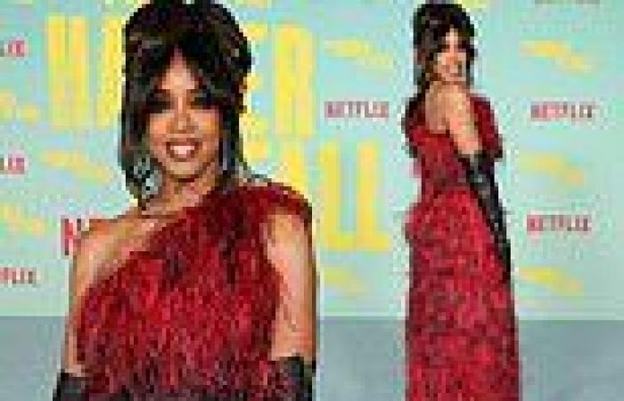 Kelly Rowland is ravishing in red gown with thigh-high split at LA premiere of ...