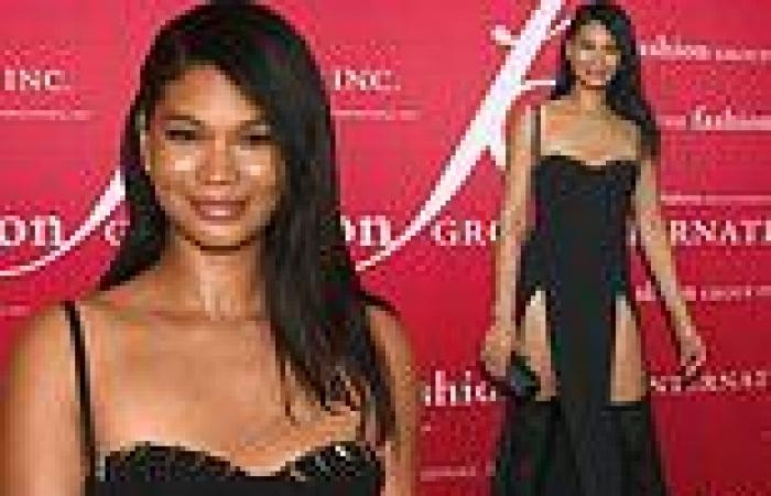 Chanel Iman shows off legs in double-split black gown at FGI Night Of Stars