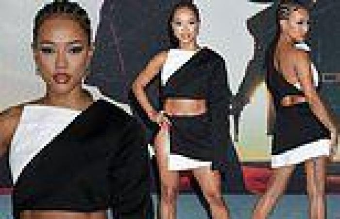 Karrueche Tran showcases abs and legs in two-piece mini dress at The Harder ...
