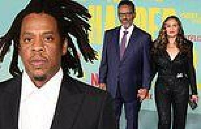 Jay-Z supported by Beyonce's mom Tina Knowles and husband Richard Lawson at LA ...