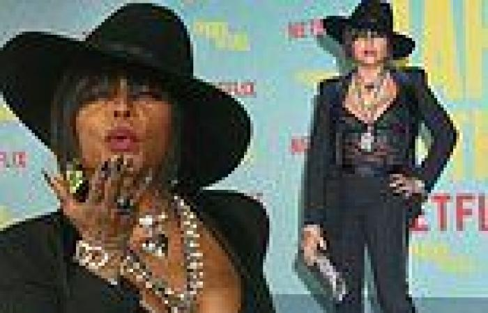 Taraji P. Henson is sexy in low-cut sheer top as she blows kisses at The Harder ...