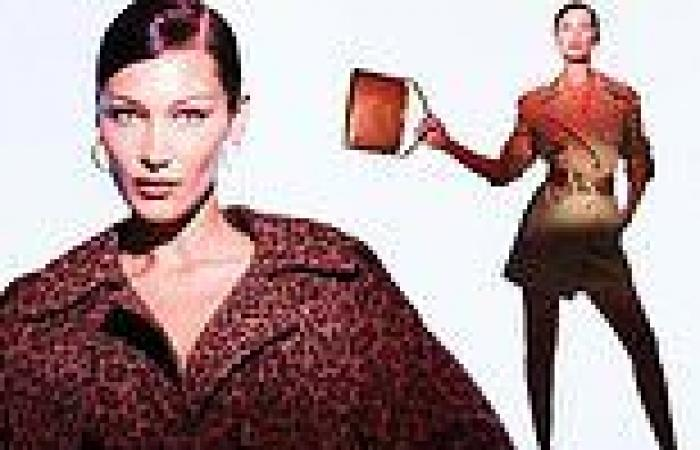 Bella Hadid has roaring good time in vibrant leopard print trench coat for new ...