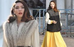 The Undoing's Matilda De Angelis looks glamorous in fur stole filming in Venice