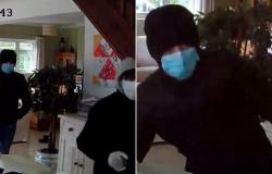 Moment three masked burglars armed with crowbars break into family home in ...