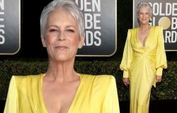 Jamie Lee Curtis pokes fun at her busty Alex Perry gown after presenting at ...