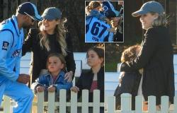 Nathan Lyon's rumoured fiancée Emma McCarthy bonds with his children at a ...