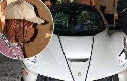 Travis Scott jumps into his limited edition Ferrari (worth an eye-watering ...
