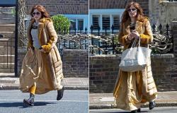TALK OF THE TOWN: Anna Friel, 44, wears a £4,000 vintage ensemble as she runs ...