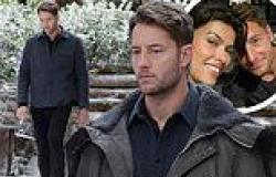 Justin Hartley films The Noel Diary on fake snowy log cabin set in Connecticut