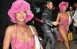 Rihanna wows in pink dress for date with boyfriend A$AP Rocky in NYC