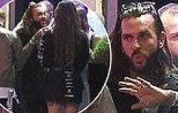 TOWIE star Pete Wicks chats to a mystery brunette as he queues to visit STRIP ...