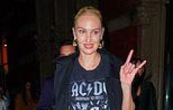 Candice Swanepoel rocks leather pants for 33rd birthday bash with bestie Irina ...
